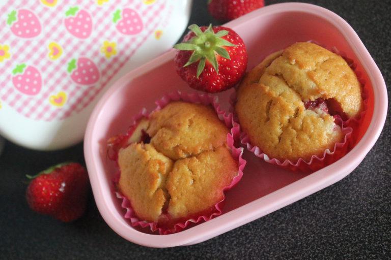 Muffins fraise et rhubarbe